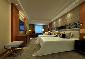 酒店现代简约双人卧室装修设计效果图