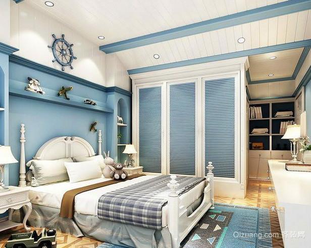 30平米地中海简约蓝白色系卧室衣柜装饰图
