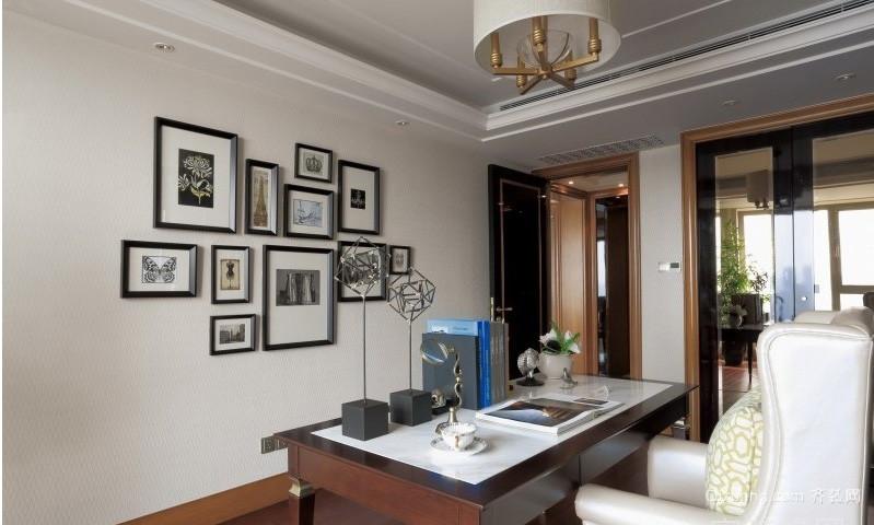 简约三室一厅书房照片墙设计效果图