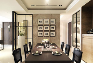 现代简约别墅餐厅照片墙设计效果图