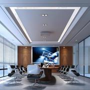 中式风格50平米会议室装修效果图