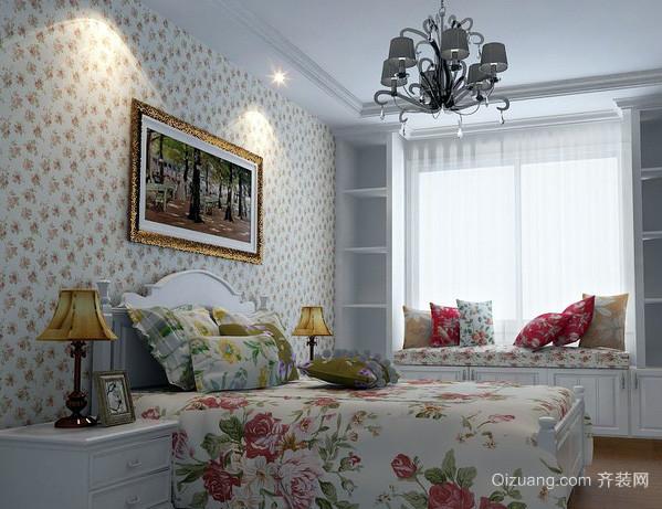 韩式清新风格卧室印花背景墙装修效果图