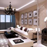 都市现代100平米客厅照片墙设计效果图