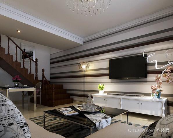后现代风格跃层客厅电视背景墙装修图