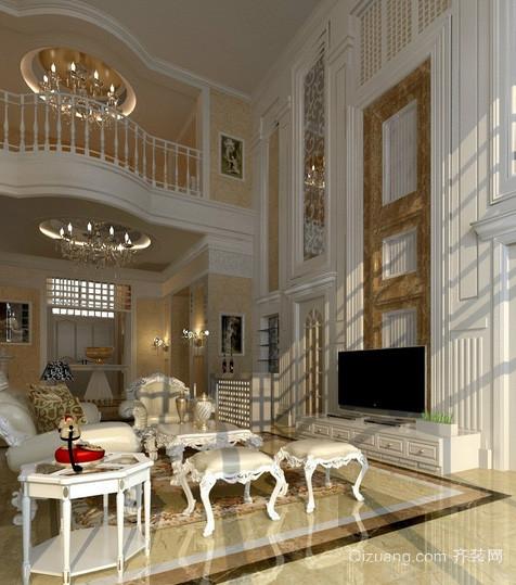 大型欧式奢华别墅挑空客厅电视背景墙装修图