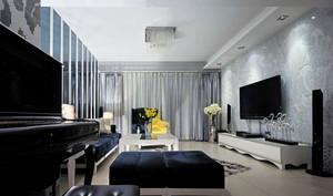 120平米简约客厅3d背景墙装修图片