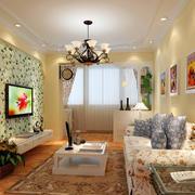 田园小客厅硅藻泥电视墙背景效果图