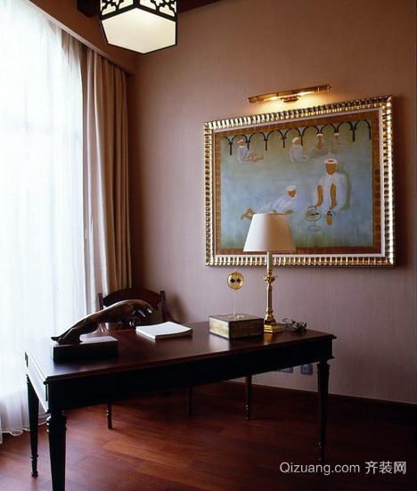别墅装饰欧式深色奢华书房工作台装修图
