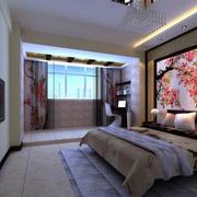 中式三室一厅卧室3d背景墙装修图片
