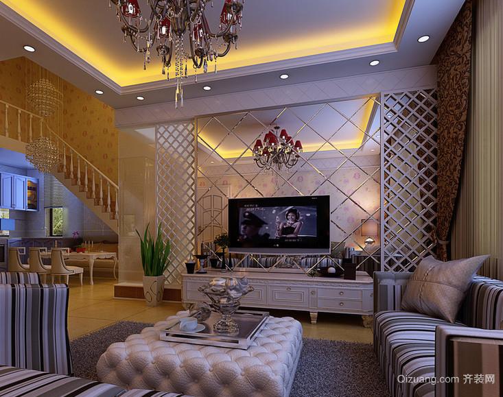 现代大户型客厅硅藻泥背景墙装修效果图鉴赏