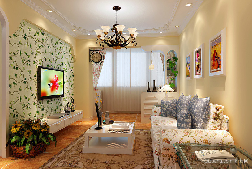 大户型宜家风格硅藻泥电视背景墙图片