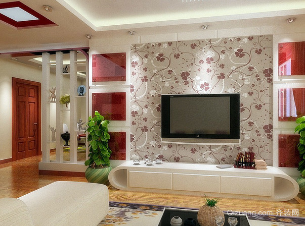 别墅简约风格硅藻泥电视背景墙图片