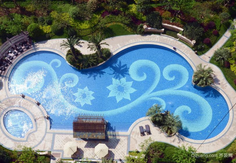 现代都市大户型游泳池设计装修效果图