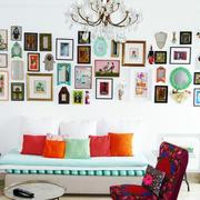 小清新40平米客厅沙发照片墙设计效果图