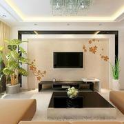 单身公寓简约硅藻泥电视墙背景效果图