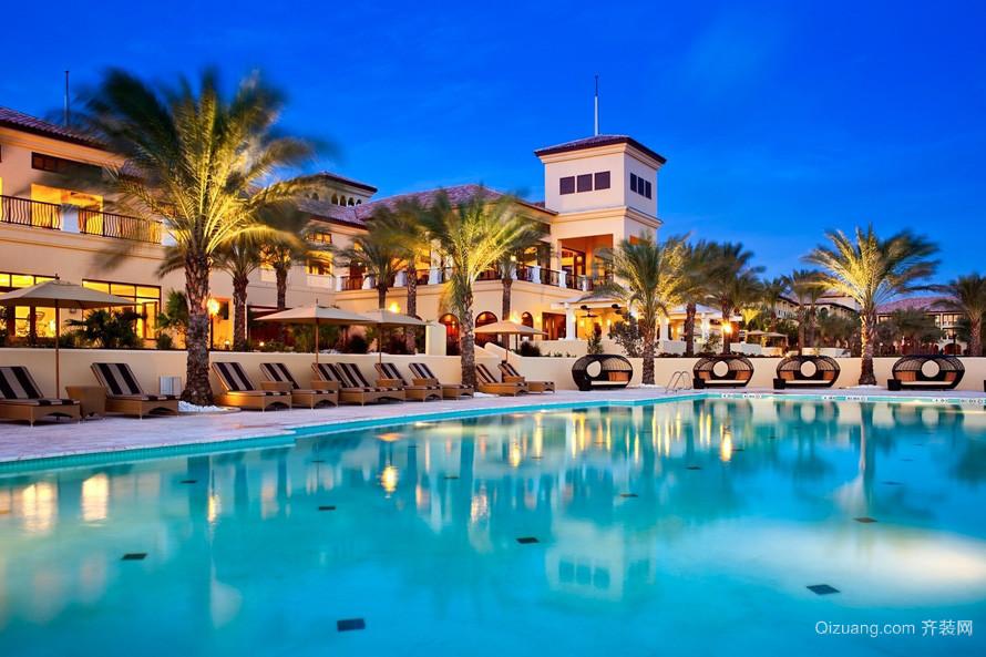 假酒店室外游泳池装修设计效果图