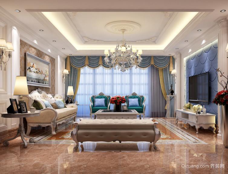 简欧大户型唯美的室内客厅装修效果图鉴赏