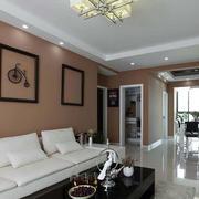 别墅暖色调沙发背景墙效果图