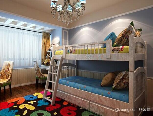 美式简约风格上下铺双人间儿童房装修效果图
