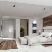 欧式简约白色系卧室床头墙饰设计
