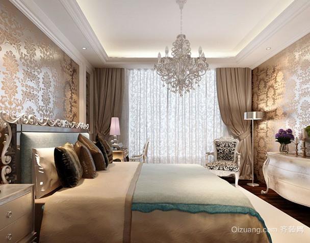 别墅欧式风格卧室奢华壁纸装修效果图