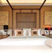 欧式简约风格卧室原木床头背景墙装饰