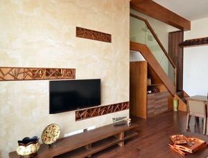 120平米日式简约风格复式楼电视背景墙装饰