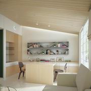 现代原木风复式楼阁楼书房装修效果图