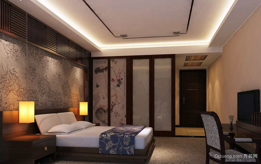 主题酒店中式儒雅卧室装修设计效果图