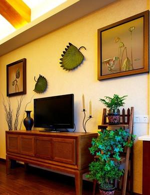 两室一厅东南亚风格简约客厅电视背景墙装饰