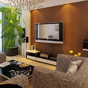 110平米客厅硅藻泥电视墙背景效果图