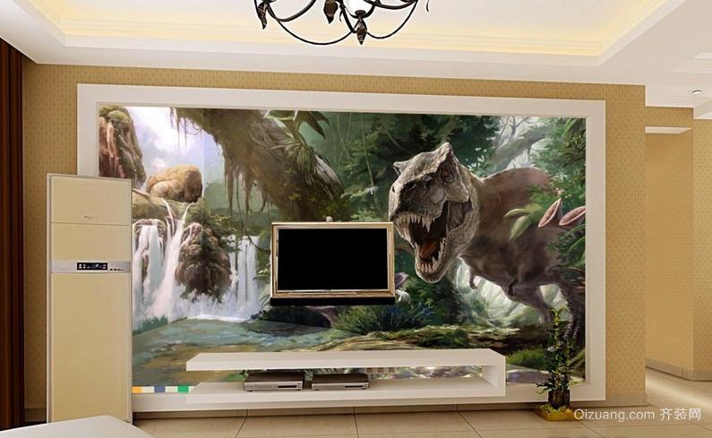 现代都市客厅3d动画电视背景墙图片