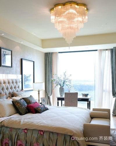 30平米欧式简约风格卧室床头背景墙装修效果图