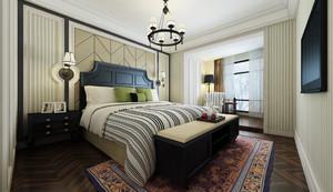 128平米深色调卧室床头背景墙装修效果图