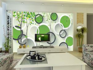清新田园小客厅3d背景墙装修效果图片