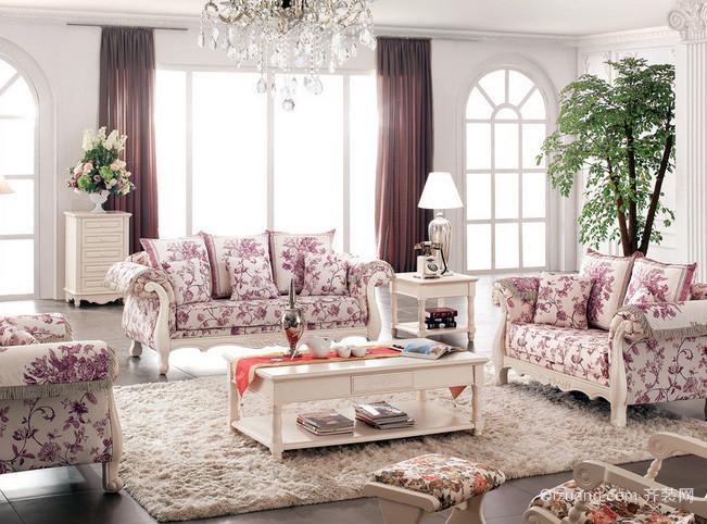 别墅韩式清新印花客厅家具装修效果图