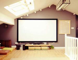 美式简约斜顶别墅家庭影院装修效果图