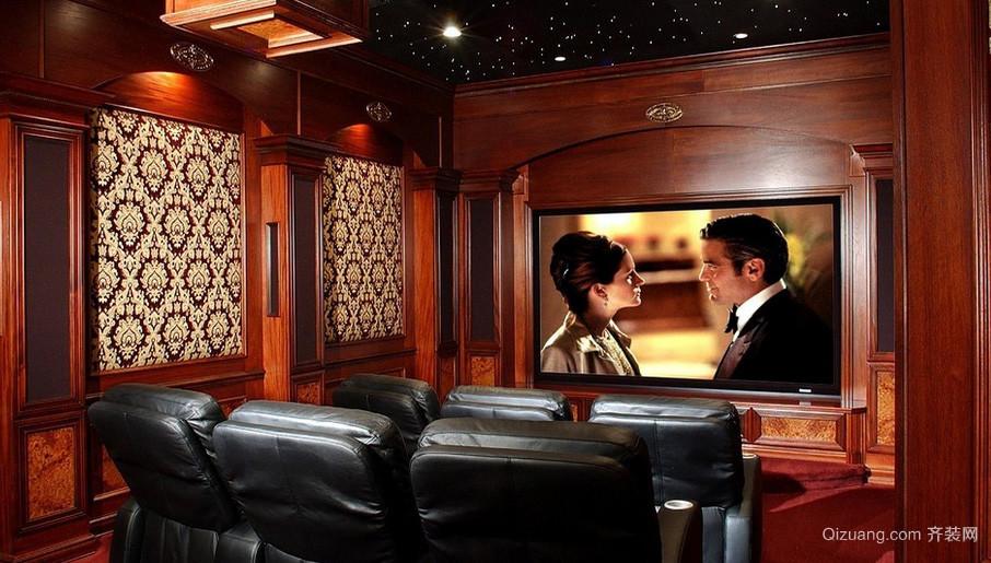 138平米深色调家庭影院装修效果图