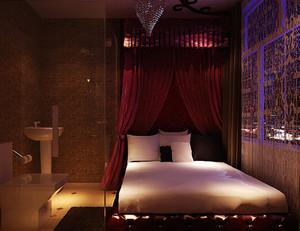 东南亚风格深色系宾馆卧室装修效果图
