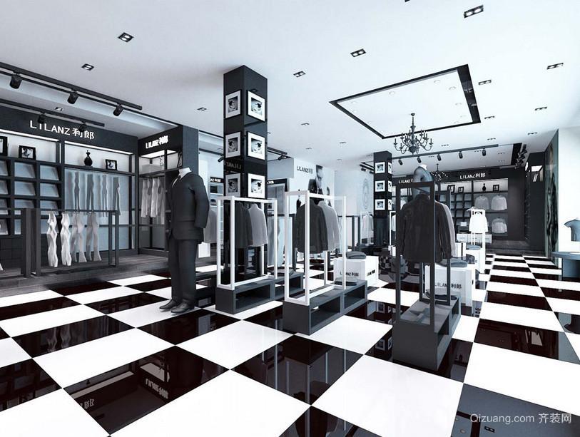 黑白现代男士服装店装修设计效果图