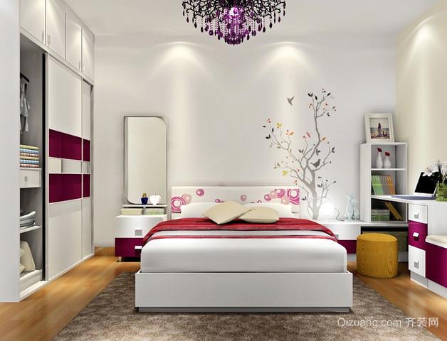 两室一厅现代简约风格卧室家具装修效果图