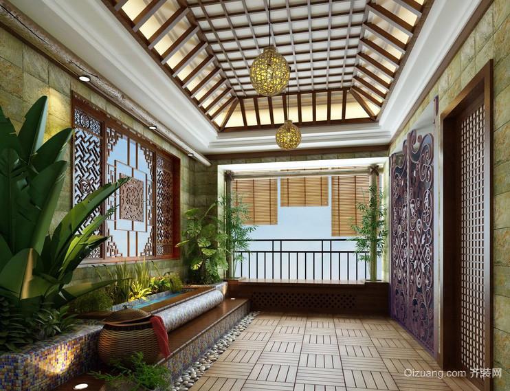中式古典家居入户花园装修设计效果图