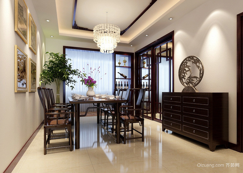 中式120平米家居精致餐厅效果图
