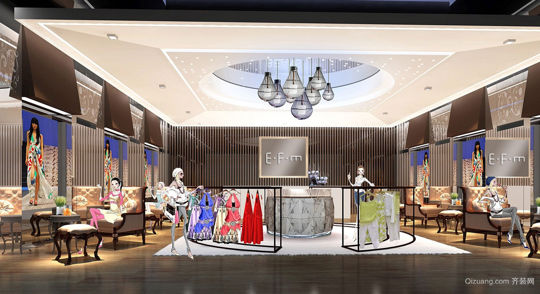 精致摩登大型女服装店装修设计效果图