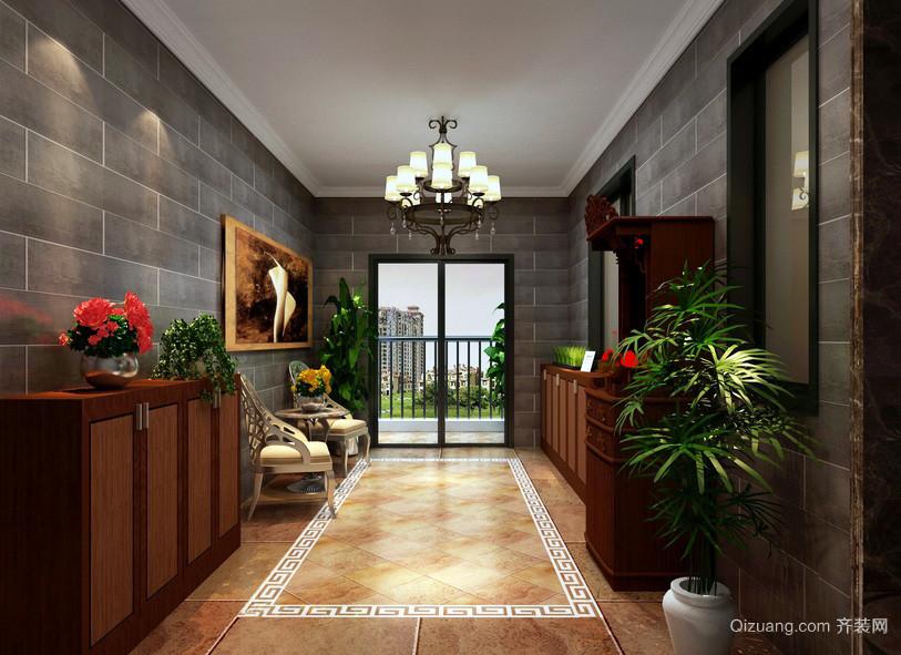 新中式复式楼入户花园装修设计效果图