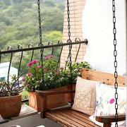 复式楼简约美式风格原木吊椅装修效果图
