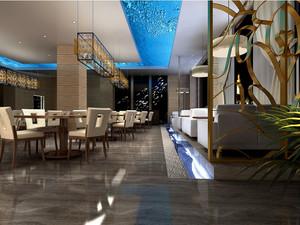 大型高级酒店唯美餐厅装修设计效果图
