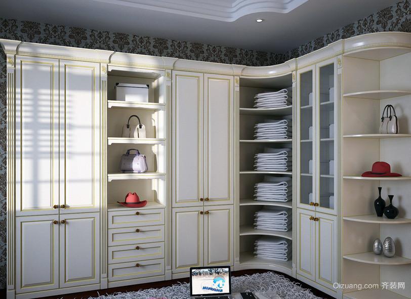简欧式衣帽间整体衣柜装修设计效果图