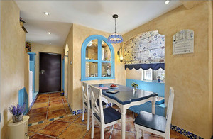 地中海风格两室一厅简约家庭餐厅装修效果图