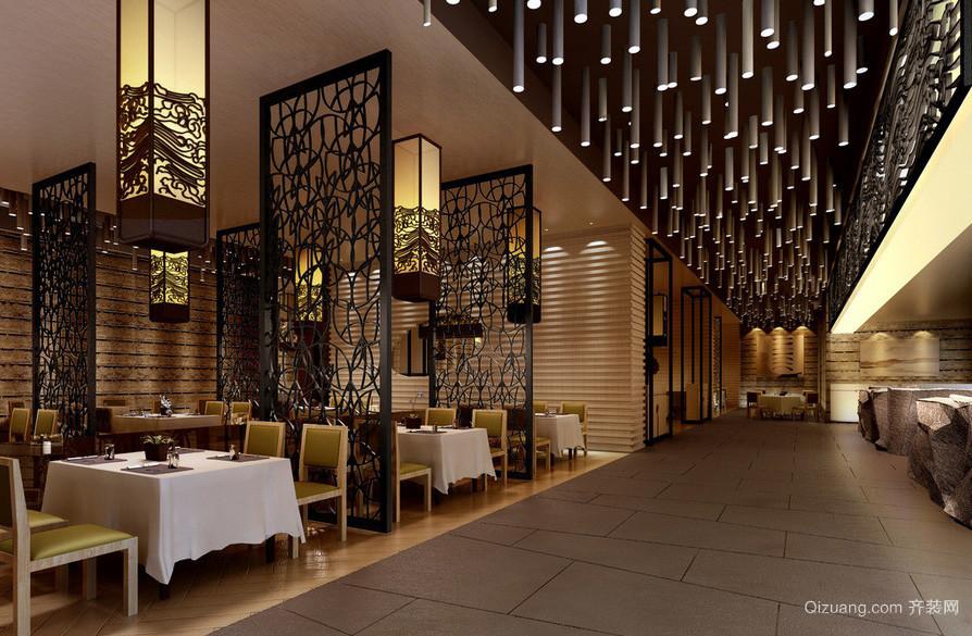 新中式大户型餐厅隔断效果图